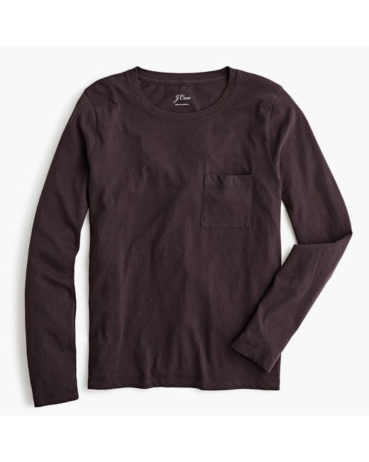 82db7d54d11c Lyst - J.Crew Broken-in Long-sleeve Pocket T-shirt in Black