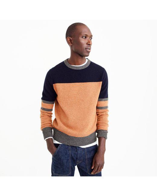 J.Crew   Blue Lambswool Crewneck Sweater In Colorblock for Men   Lyst