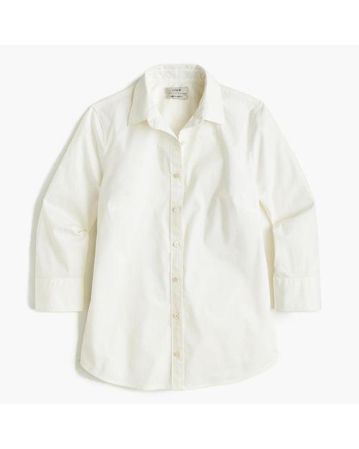 J.Crew | White Tall Three-quarter-sleeve Stretch Perfect Shirt | Lyst