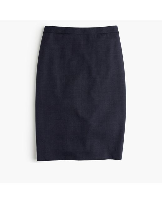 J.Crew | Blue Petite Pencil Skirt In Super 120s Wool | Lyst