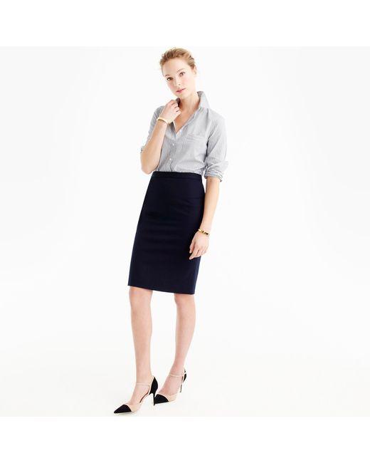 j crew pencil skirt in bi stretch cotton in blue