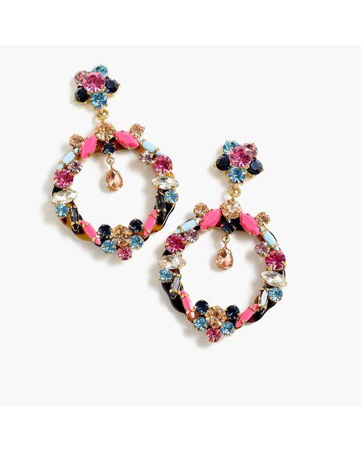 J.Crew - Multicolor Garland Drop Hoop Earrings - Lyst