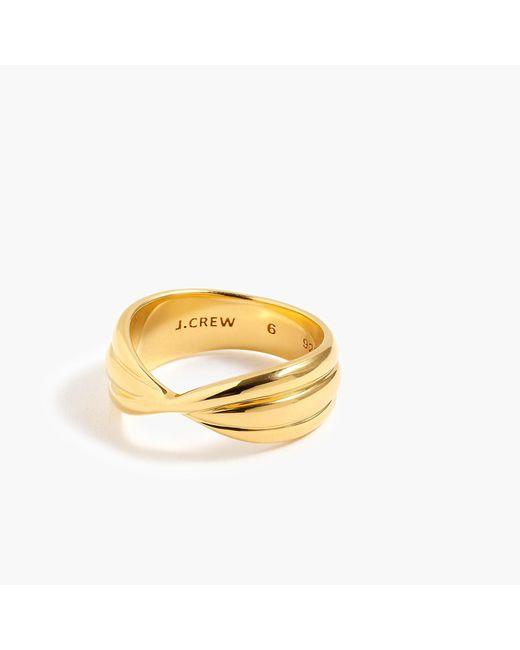 J.Crew - Metallic Demi-fine 14k Gold-plated Twisted Ring - Lyst