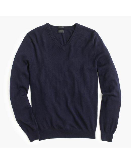J.Crew | Blue Merino Wool V-neck Sweater for Men | Lyst
