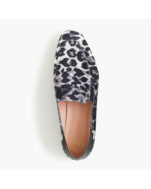 J.Crew - Black Convertible Smoking Slippers In Leopard - Lyst