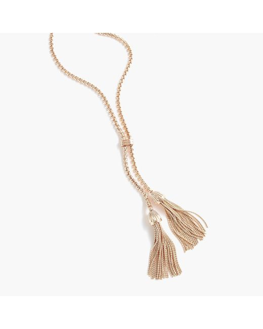 J.Crew - Metallic Tassel Chain Necklace - Lyst