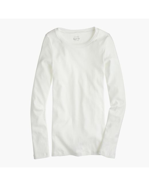 J.Crew | White Perfect-fit Long-sleeve T-shirt | Lyst