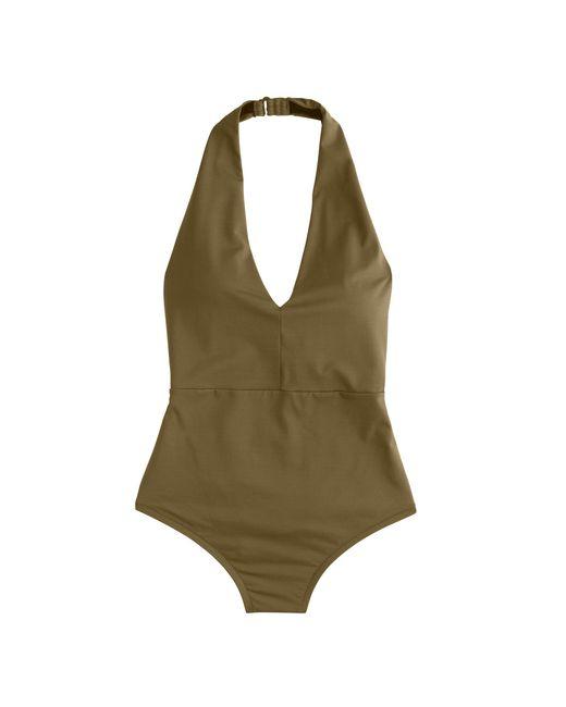 J.Crew | Green Italian Matte Halter One-piece Swimsuit | Lyst