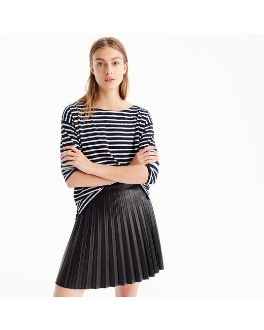 J.Crew   Black Faux-leather Pleated Mini Skirt   Lyst