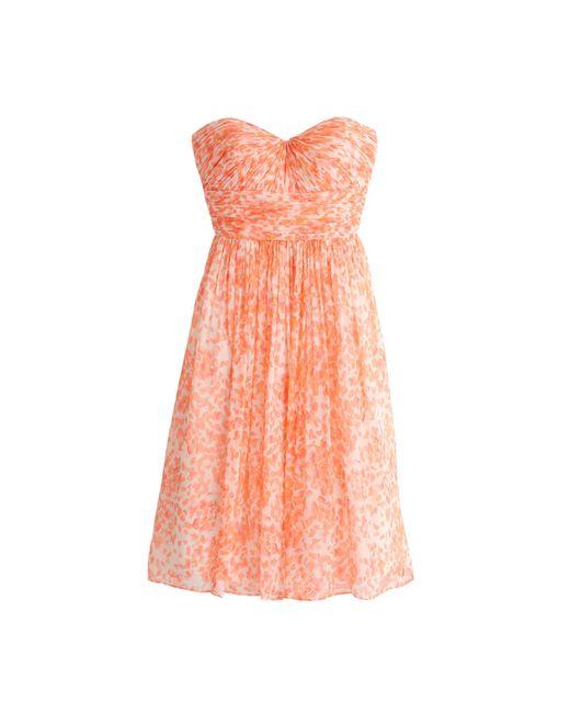J.Crew | Pink Marbella Strapless Dress In Watercolor Silk Chiffon | Lyst