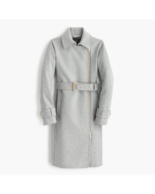J.Crew | Gray Belted Zip Trench Coat In Wool Melton | Lyst