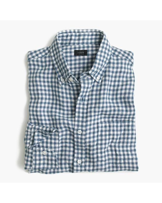 J.Crew | Slim Washed Thomas Mason Shirt In Blue Gingham for Men | Lyst
