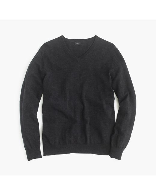 J.Crew | Black Tall Rugged Cotton V-neck Sweater for Men | Lyst