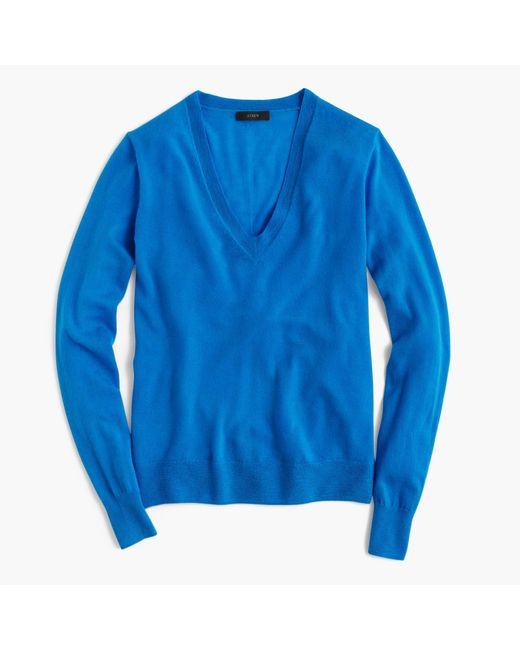 J.Crew | Blue Italian Featherweight Cashmere Classic V-neck Sweater | Lyst