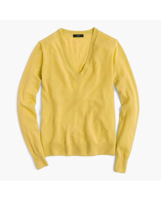 J.Crew | Yellow Italian Featherweight Cashmere Classic V-neck Sweater | Lyst