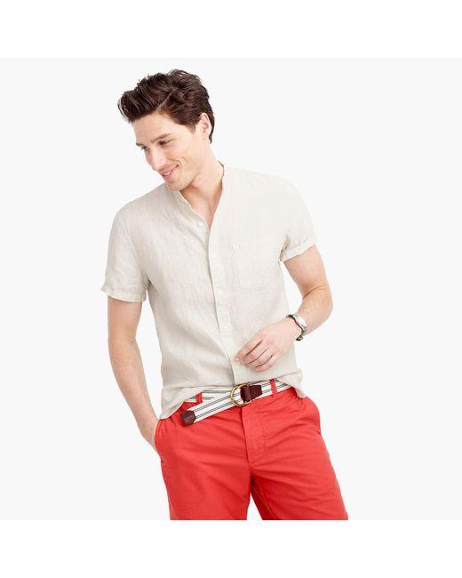 Short Sleeve Band Collar Shirt In Irish Linen In