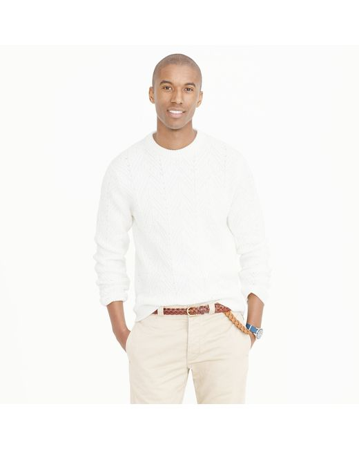J Crew Cotton Cable Sweater In White For Men Lyst