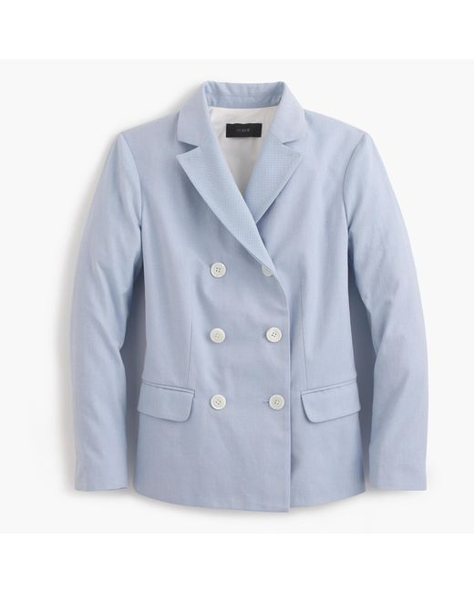 J.Crew | Blue Double-breasted Blazer In Italian Cotton | Lyst