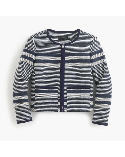 J.Crew | Blue Jacket In Striped Navy Tweed | Lyst