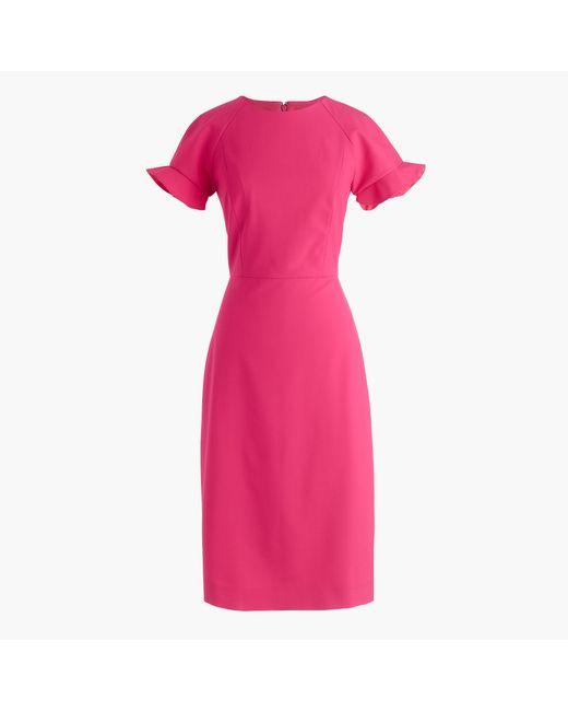 J.Crew | Pink Ruffle-sleeve Sheath Dress In Italian Stretch Wool | Lyst