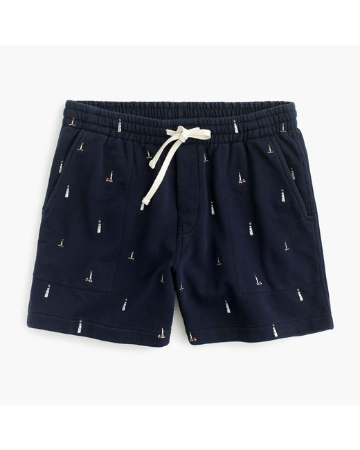 J.Crew | Blue Sweatshort In Embroidered Lighthouses for Men | Lyst