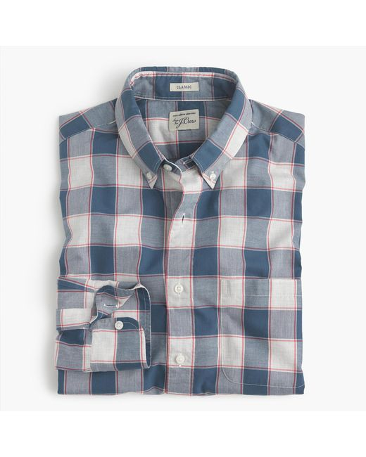 J.Crew | Blue Tall Brushed Twill Shirt In Batavia Gingham for Men | Lyst