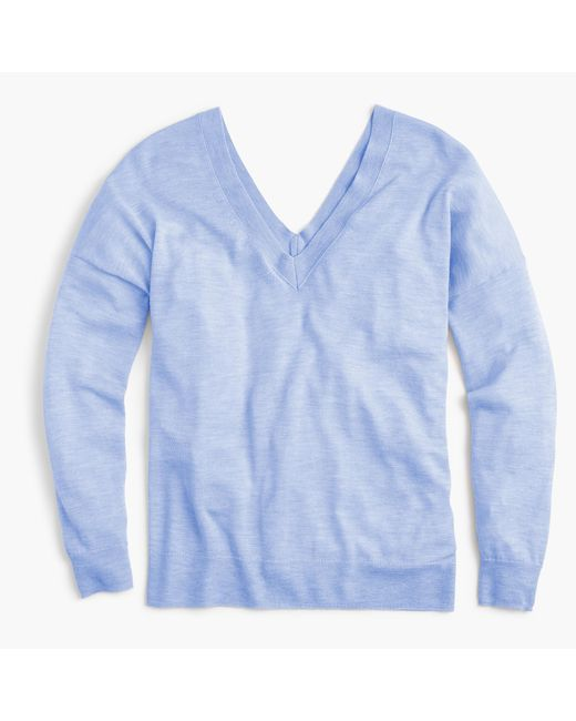 J.Crew | Blue Italian Featherweight Cashmere Double V-neck Sweater | Lyst