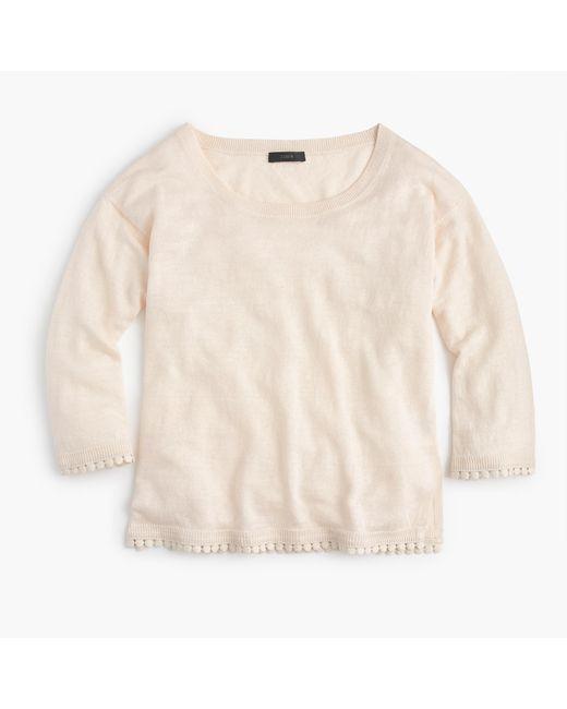 J.Crew | White Linen Sweater With Pom-pom Trim | Lyst
