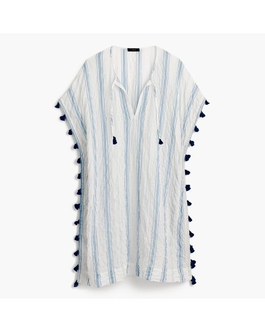 J.Crew | Blue Striped Tassel Tunic | Lyst