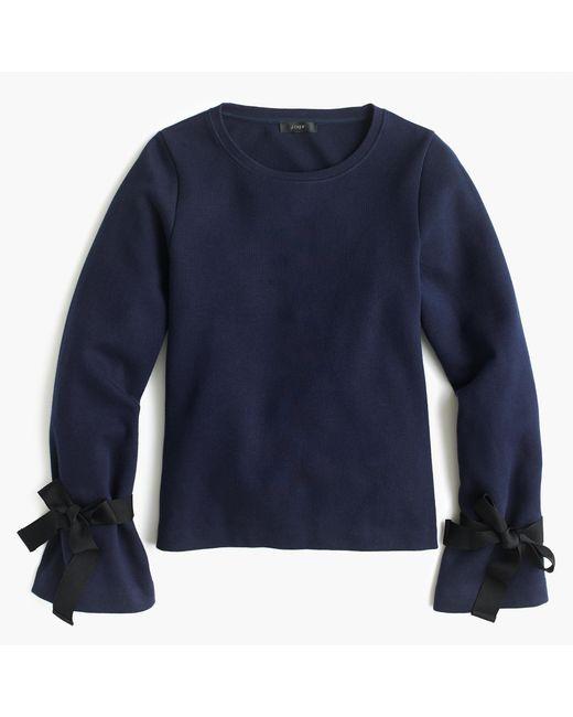 J.Crew | Blue Tie-sleeve Sweatshirt | Lyst