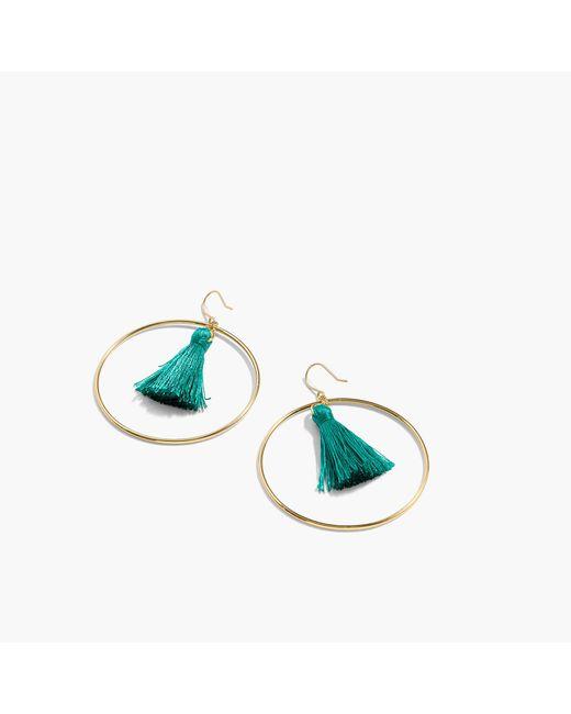 J.Crew | Blue Fringy Hoop Earrings | Lyst