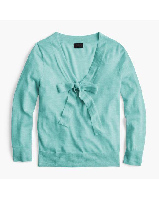J.Crew | Green Tie-neck Sweater In Italian Featherweight Cashmere | Lyst