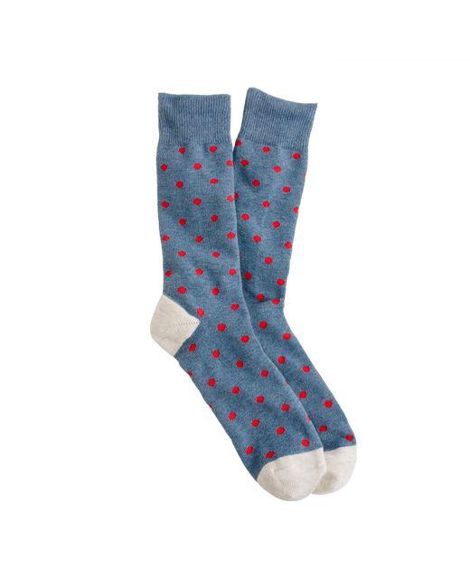 J.Crew - Blue Medium-dot Cotton Socks for Men - Lyst