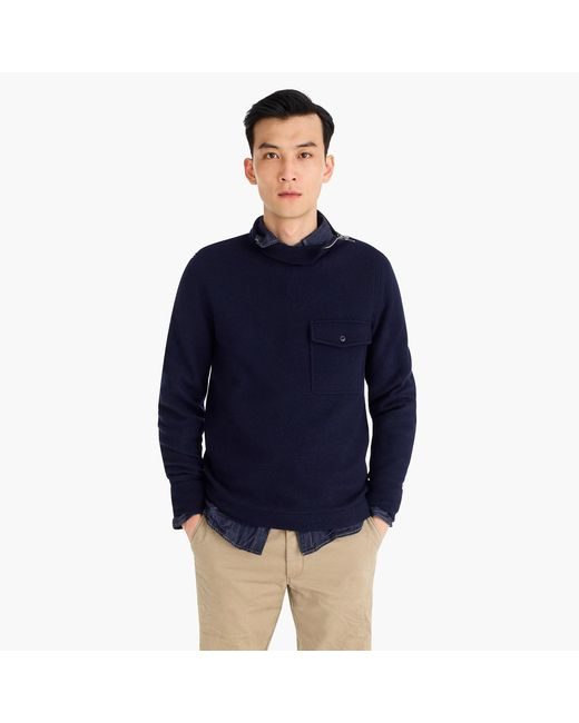 J.Crew - Blue Wallace & Barnes Felted Merino Wool Mock Neck Pullover for Men - Lyst
