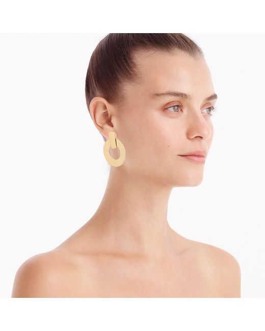 J.Crew - Metallic Flat Drop-hoop Earrings - Lyst