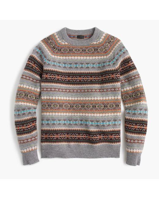 J.crew Lambswool Fair Isle Crewneck Sweater In Granite for Men | Lyst