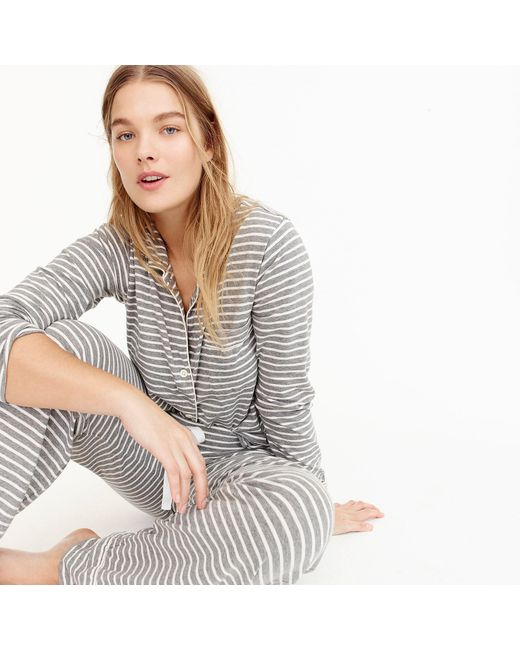 J.Crew - Gray Dreamy Cotton Pajama Set In Stripe - Lyst