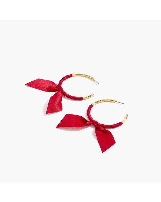 J.Crew - Red Ribbon-wrapped Hoop Earrings - Lyst