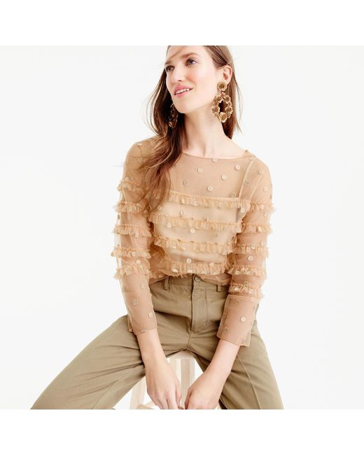 J.Crew | Multicolor Collection Tulle Top With Embroidered Polka Dots | Lyst