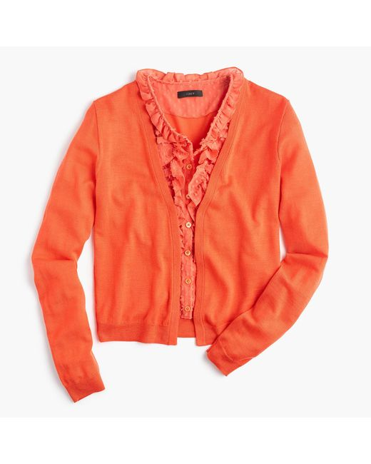 J.Crew | Orange Cardigan Sweater With Ruffly Underlay | Lyst