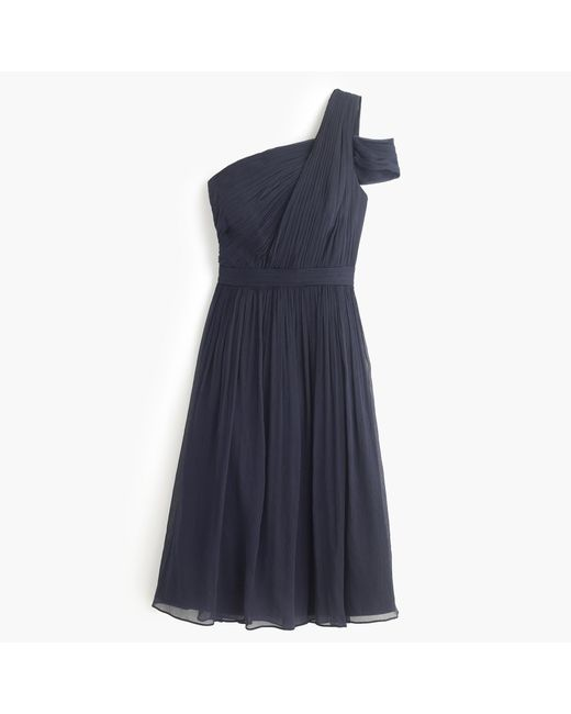 J.Crew | Blue Cara Dress In Silk Chiffon | Lyst