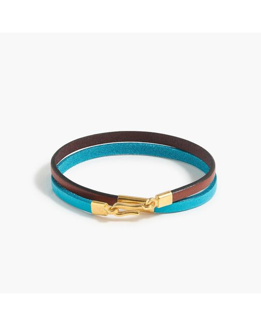 J.Crew - Blue Caputo & Co. Colorblock Leather Double-wrap Bracelet - Lyst