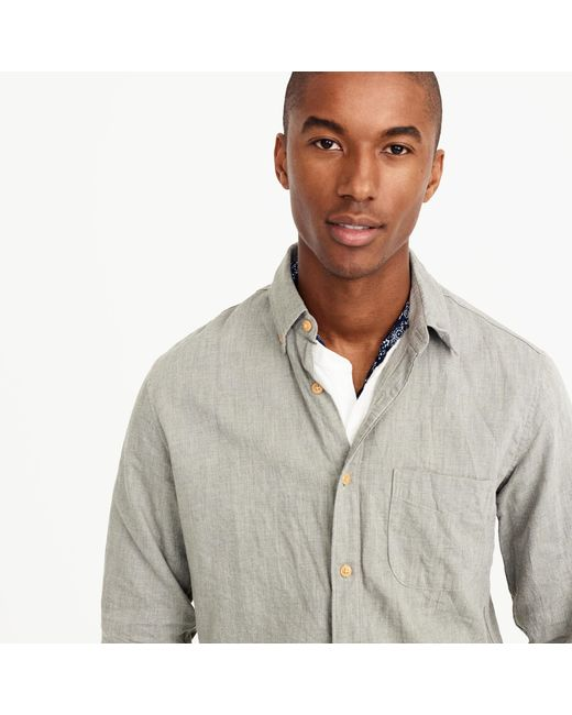 J.Crew | Gray Slim Brushed Twill Shirt for Men | Lyst