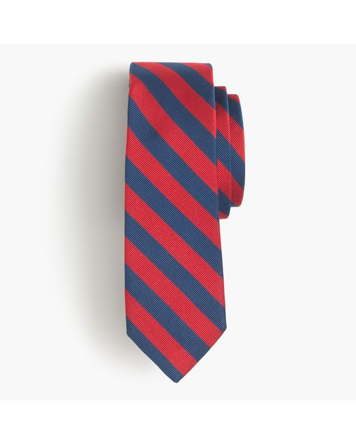 J.Crew | Red English Silk Repp Tie In Classic Stripe for Men | Lyst