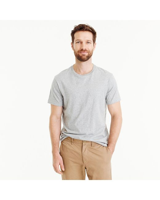 J.Crew - Gray Slim Mercantile Broken-in Crewneck T-shirt In Heather Grey for Men - Lyst