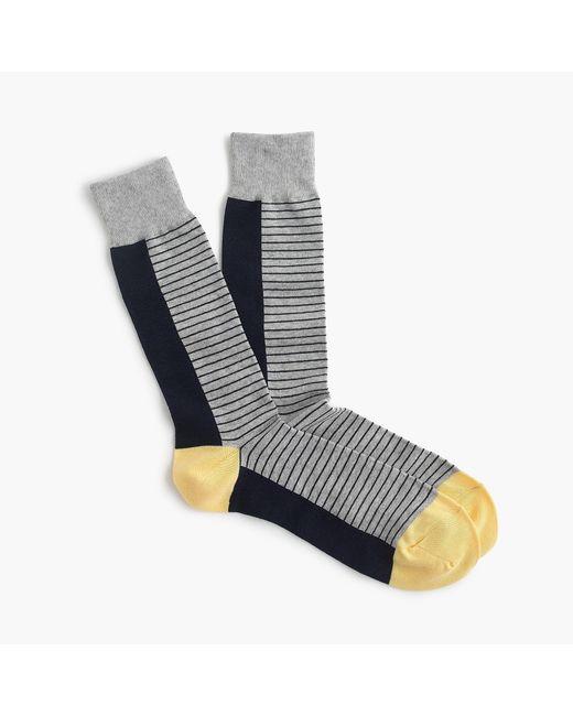 J.Crew - Blue Grey Striped Socks for Men - Lyst