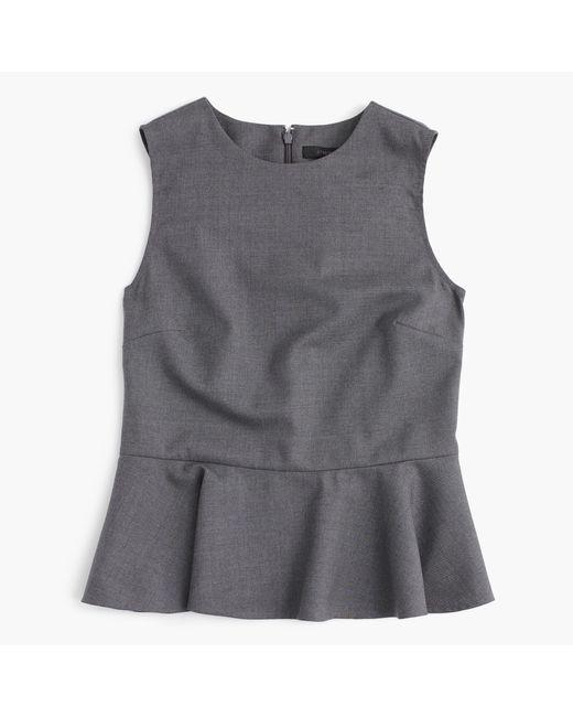 J.Crew | Gray Petite Peplum Top In Super 120s Wool | Lyst