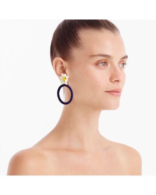 J.Crew - Multicolor Alison Lou X Beaded Daisy Drop-hoop Earrings - Lyst