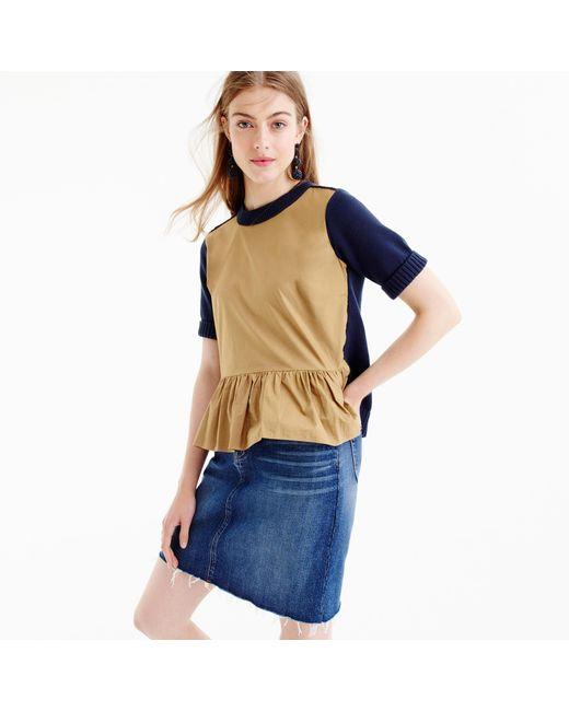 J.Crew | Blue Colorblock Peplum Sweater | Lyst