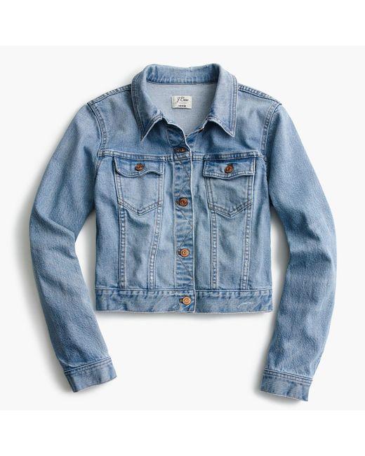 J.Crew | Blue Cropped Denim Jacket In Cavanal Wash | Lyst